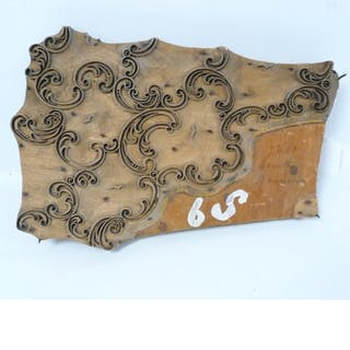 19th century wooden textile printing block with scroll patte...