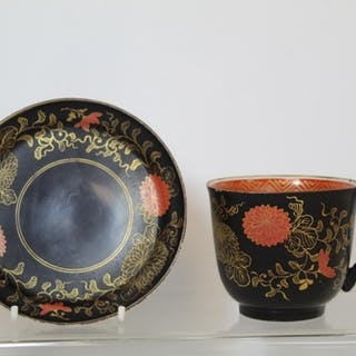 "19th century Japanese ""Clobbered"" Kutani teacup and saucer d..."