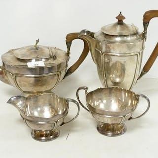 Silver four piece tea set of Art Nouveau style, hemispherica...