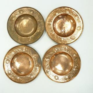 Four Keswick School of Industrial Arts copper shallow bowls ...