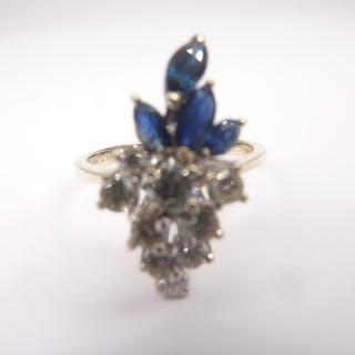 Cocktail ring with scattered diamond brilliants and navelle ...