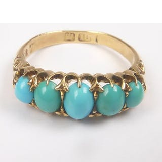 Victorian turquoise half hoop ring in 18ct gold.Size 'L 1/2'...