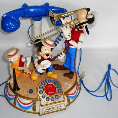 Mickey Mouse band telephone diorama.