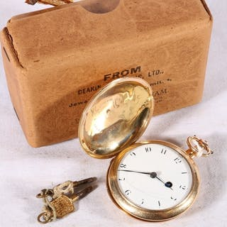 19th century 18ct gold cased key winding pocket watch, the b...