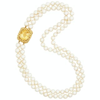 Double Strand Cultured Pearl Necklace with Gold and Yellow Sapphire