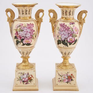 Pair of Paris Porcelain Gilt and Floral Decorated Two-Handled Vases