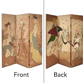Marcel Vertès Three-Panel Double Sided Painted Screen