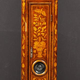 Dutch Rococo Style Fruitwood and Walnut Marquetry Longcase Clock