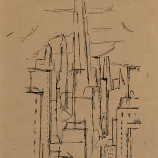 Niles Spencer American, 1893-1952 Untitled City Buildings (a double sided work)