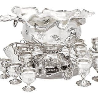 International Art Nouveau Sterling Silver Punch Set
