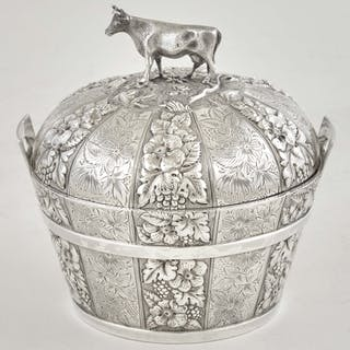 American Sterling Silver Covered Butter Tub