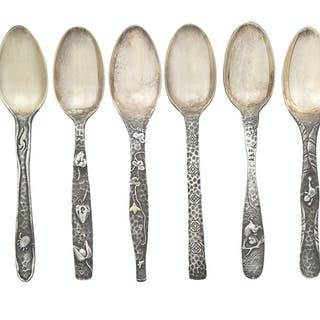 Set of Twelve Tiffany & Co. Sterling Silver and Mixed Metal Teaspoons