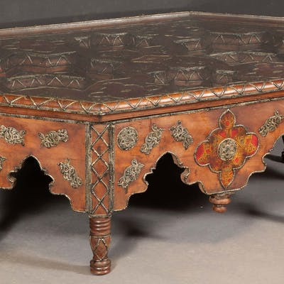 Moroccan Leather-Lined and Brass-Mounted Softwood Low Table