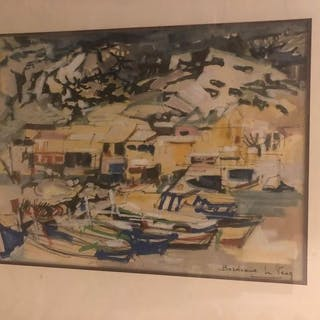Andrée BORDEAUX LE PECQ (1911-1973) Barques...