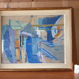 Pierre AMBROGIANI (1907-1985) Le port. Gouache....