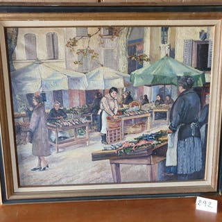 H. STAUDER (XX) Le marché. Signée en bas...