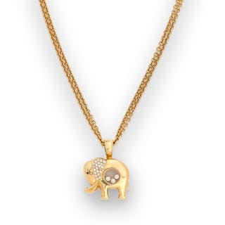CHOPARD Pendentif éléphant «Happy Diamonds»...