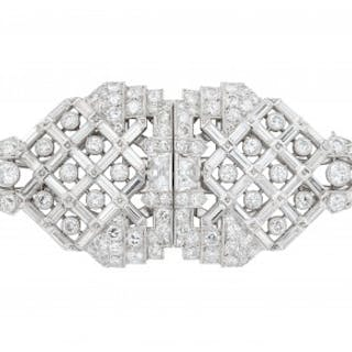 A Diamond and Platinum Double-Clip Brooch, circa 1935