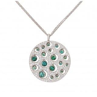 Lot 223.17: [ADDENDUM] A Green Tourmaline, Diamond and Platinum Pendant