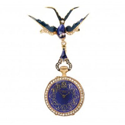 An Antique Enamel, Diamond and Gold Lapel Watch, by Golay Fils & Stahl