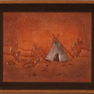 9e51ab2444aa Stamped Leather Teepee Painting by Bob Robinson (90726)