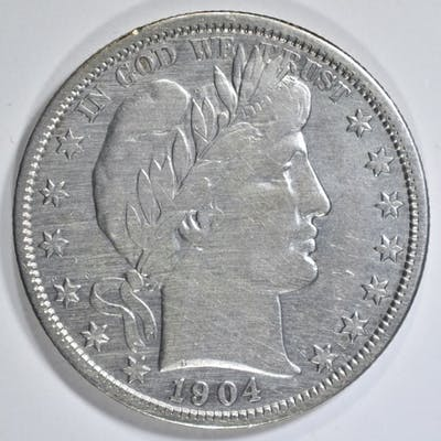 1904-S BARBER HALF DOLLAR XF/AU