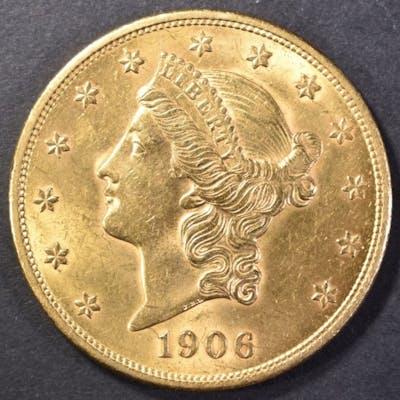 1906 $20 GOLD LIBERTY CH BU FLASHY | Barnebys