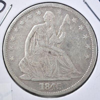 1845-O SEATED HALF DOLLAR, VG