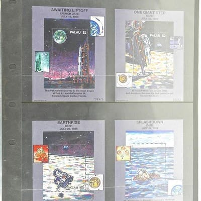 Lot of Stamps - Awaiting Lift Off, One Giant Step, Earthrise, Splashdown.