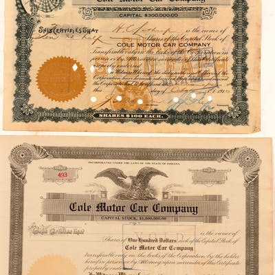 Cole Motor Car Company Stock (104008)
