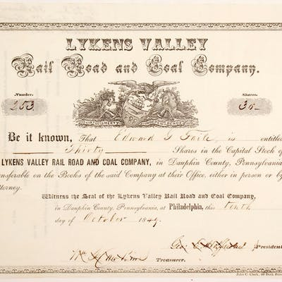 Lykens Valley Rail Road & Coal Stock (84926)