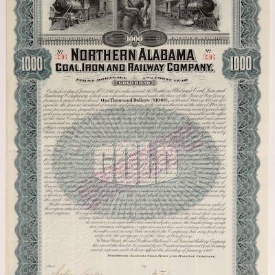 Northern Alabama Coal, Iron and Railway Co bond (106439) | Barnebys