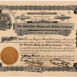 Gold-Coin Mining & Milling Co  Stock Certificate -- Number 1