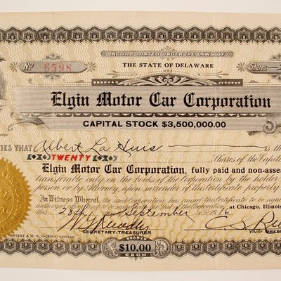 Elgin Motor Car Stock (79921)
