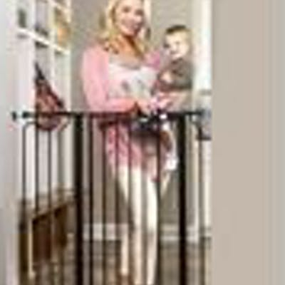 Regalo Easy Step Extra Tall Walk Thru Gate- Bonus Kit- Includes 4-Inch