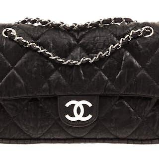 e2012934a Chanel Black Nylon Flap Shoulder Bag