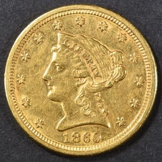 1860-S $2.5 GOLD LIBERTY AU SCARCE DATE