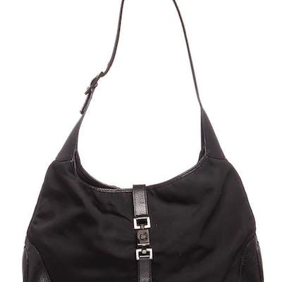 Gucci Black Nylon Leather Jackie Shoulder Bag