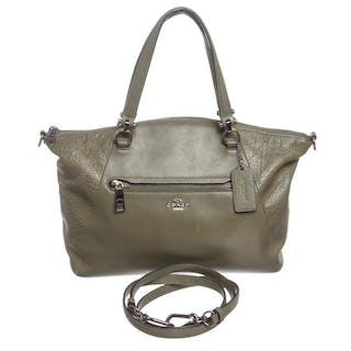 141025030 Coach Olive Green Leather Two-Way Handbag