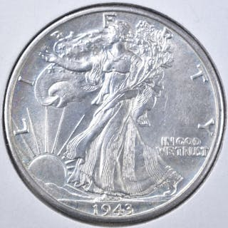 1943-D WALKING LIBERTY HALF DOLLAR CH UNC