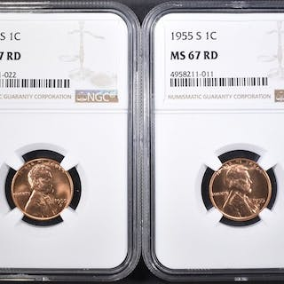 (2) 1955-S LINCOLN CENTS NGC MS-67 RD