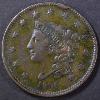 1836 LARGE CENT, VF