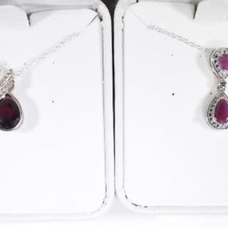 2 EACH RING & NECKLACE STERLING SILVER LOT