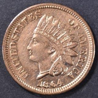 1864 BRONZE INDIAN CENT BU CLASHED DIE OBV.