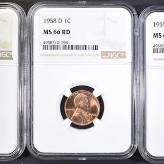 1955-S, 58-D, 59-D LINCOLN CENTS NGC MS-66 RD