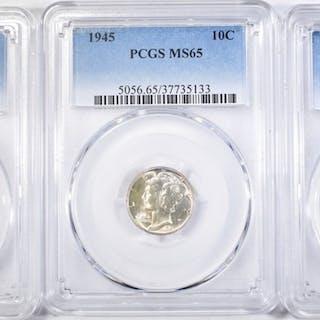 3 MERCURY DIMES PCGS MS-65