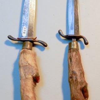 M T  Knives Buffalo Scrimshaw & Jasper Damascus | Barnebys