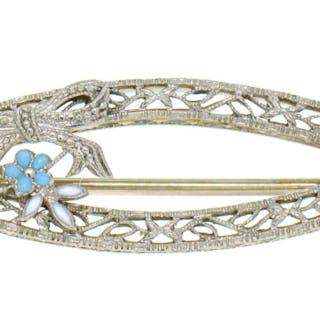 Art Deco 14K White Gold Filigree Marquise Shape Enamel Flower Brooch Pin