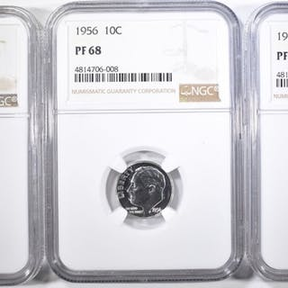 1955, 56, 57 ROOSEVELT DIMES NGC PF-68