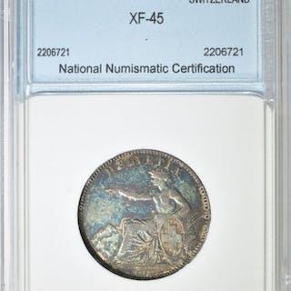 1860-B SWITZERLAND 2 FRANCS NNC EF/AU